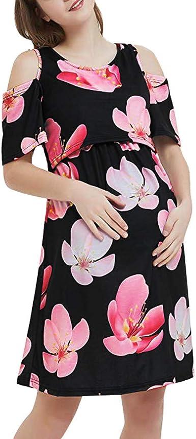 Women Maternity Dress Summer Ladies Casual Nursing Nightgowns Breastfeeding