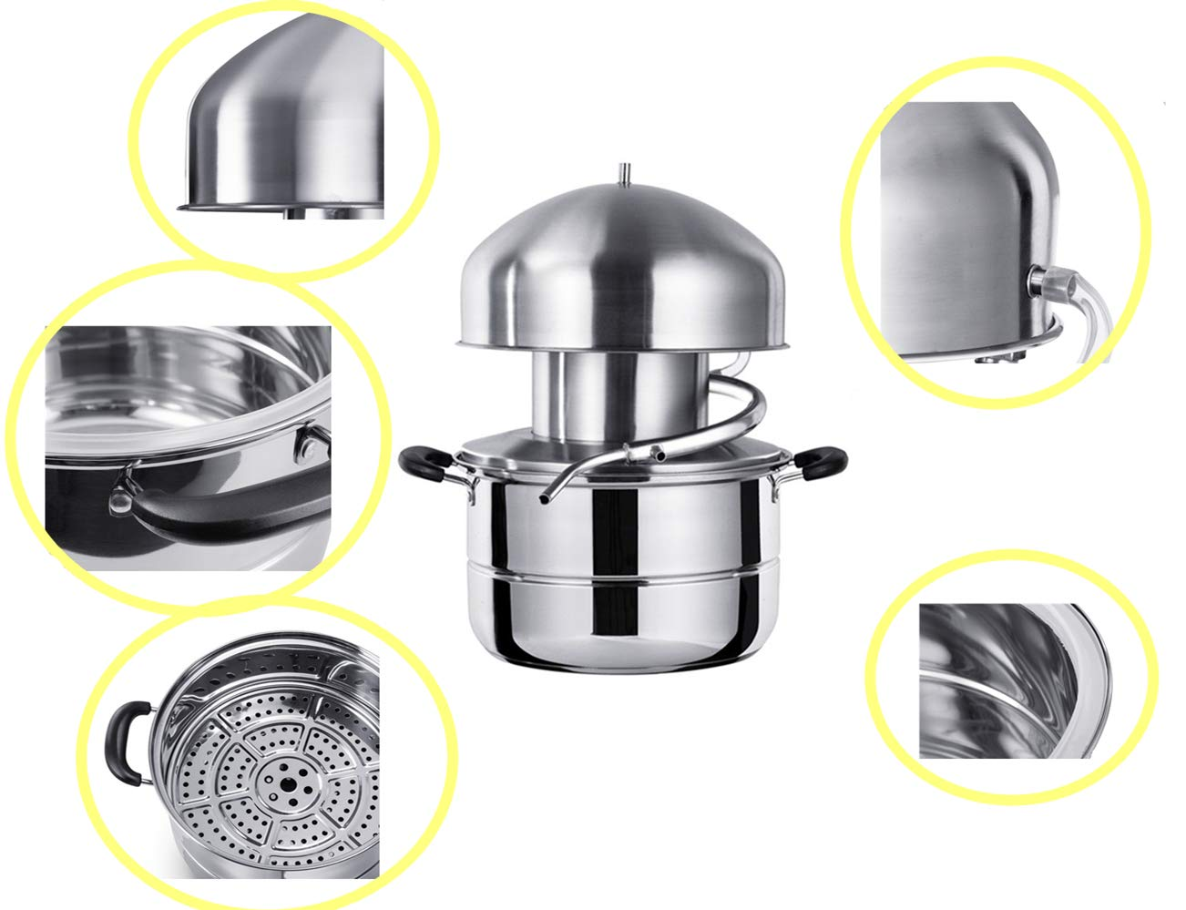 Stainless Steel Distiller For Water,Wine,Oil Alcohol Essential Oil Separator (10L) by sanheng fire (Image #2)