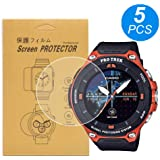 [5-Pcs] for Casio WSD-F20 Watch Screen Protector, Full Coverage Screen Protector for Casio WSD-F20-RG Watch HD Clear Anti-Bubble and Anti-Scratch