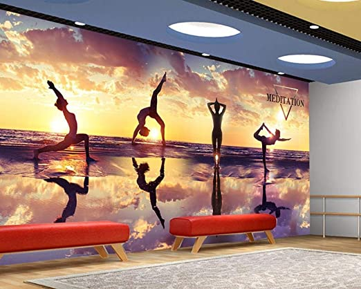 Custom 3D Photo Wallpaper Yoga Cultura Wall Fitness Club ...