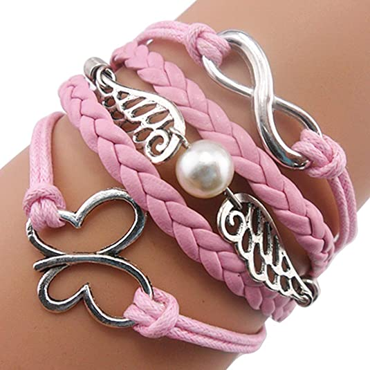 Ac Union ACUNIONâ?¢ Handmade Infinity Angel Wings Butterfly Charm Friendship Gift Leather Bracelet