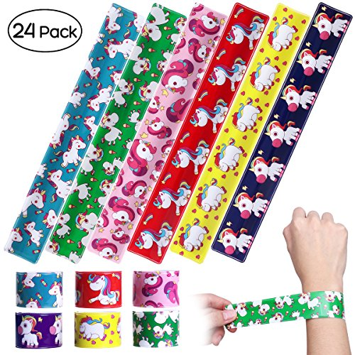 iBaseToy 24 Pack Unicorn Slap Bracelets - Birthday Party Favors Carnival Prizes for Kids Boys Girls Adults, 6 Designs