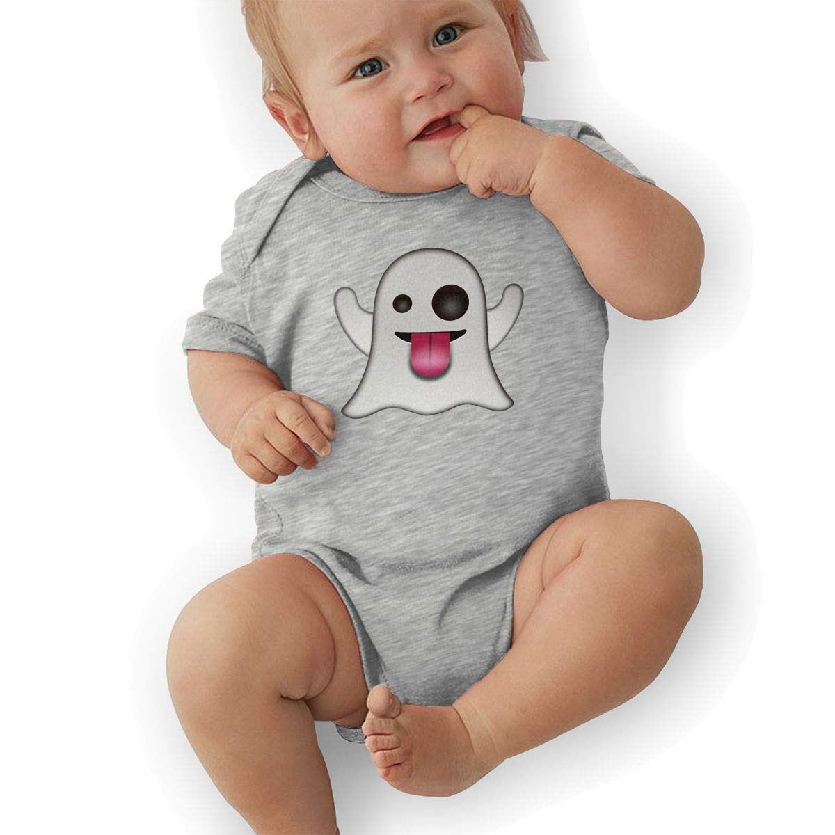Emoji Ghost Logo Newborn Baby Short Sleeve Romper Infant Summer Clothing
