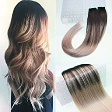 "BeautyMiss 18"" PU Tape in Hair Extensions Balayage Ombre Hair Color Dark Brown Fading to Ash Blonde Highlights Real Hair Straight Remy Human Hair Extensions 100g/40pcs"