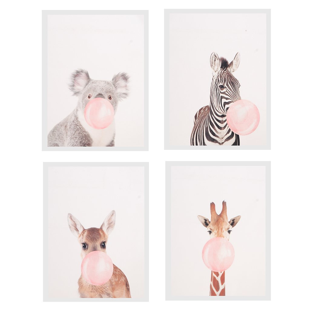 Blesiya 4 Panel No Frame Wall Picture Print Art Painting Oil Painting - Animal Blow Bubble Gum by Blesiya