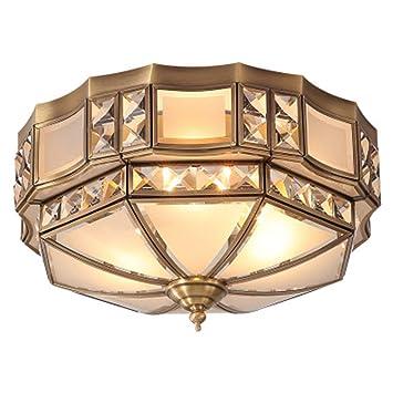 LHFING Moderna Lámpara De Techo De Latón Americana Retro ...