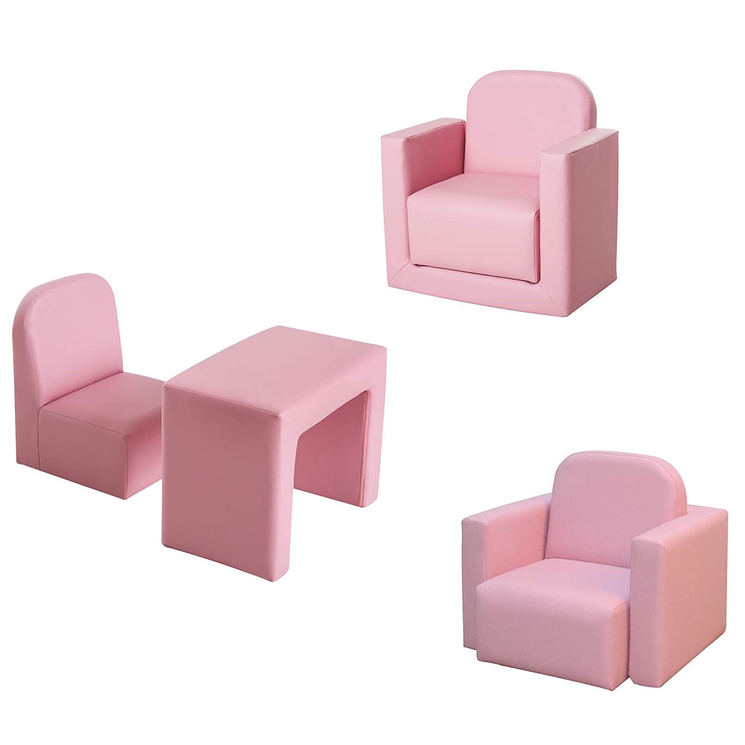 HOMCOM Kids Mini Sofa 3 in 1 Table Chair Set Armchair Seat Game Relax Playroom Seater Children Girl Boys Pink Sold by MHSTAR UK310-021PK0331