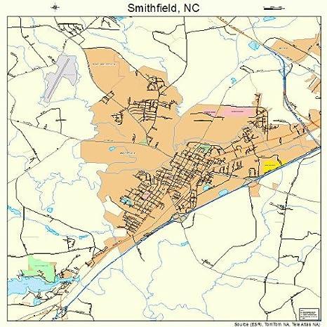 Amazon Com Large Street Road Map Of Smithfield North Carolina Nc