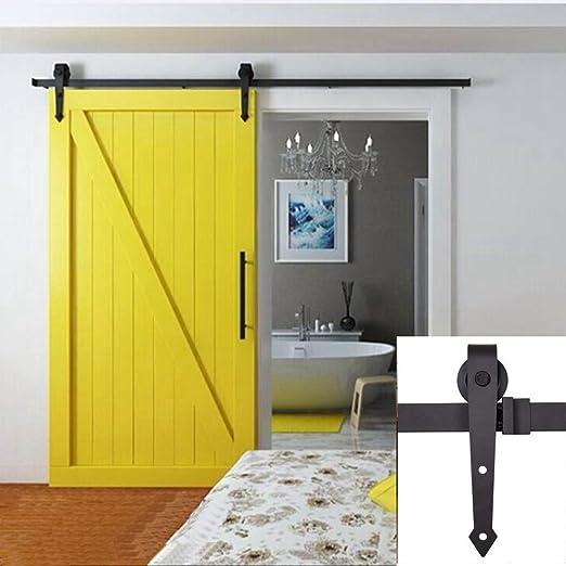 Hahaemall hierro soportes rueda colgante único cierre suave puerta corrediza de granero madera Hardware Track Roller Set: Amazon.es: Bricolaje y herramientas