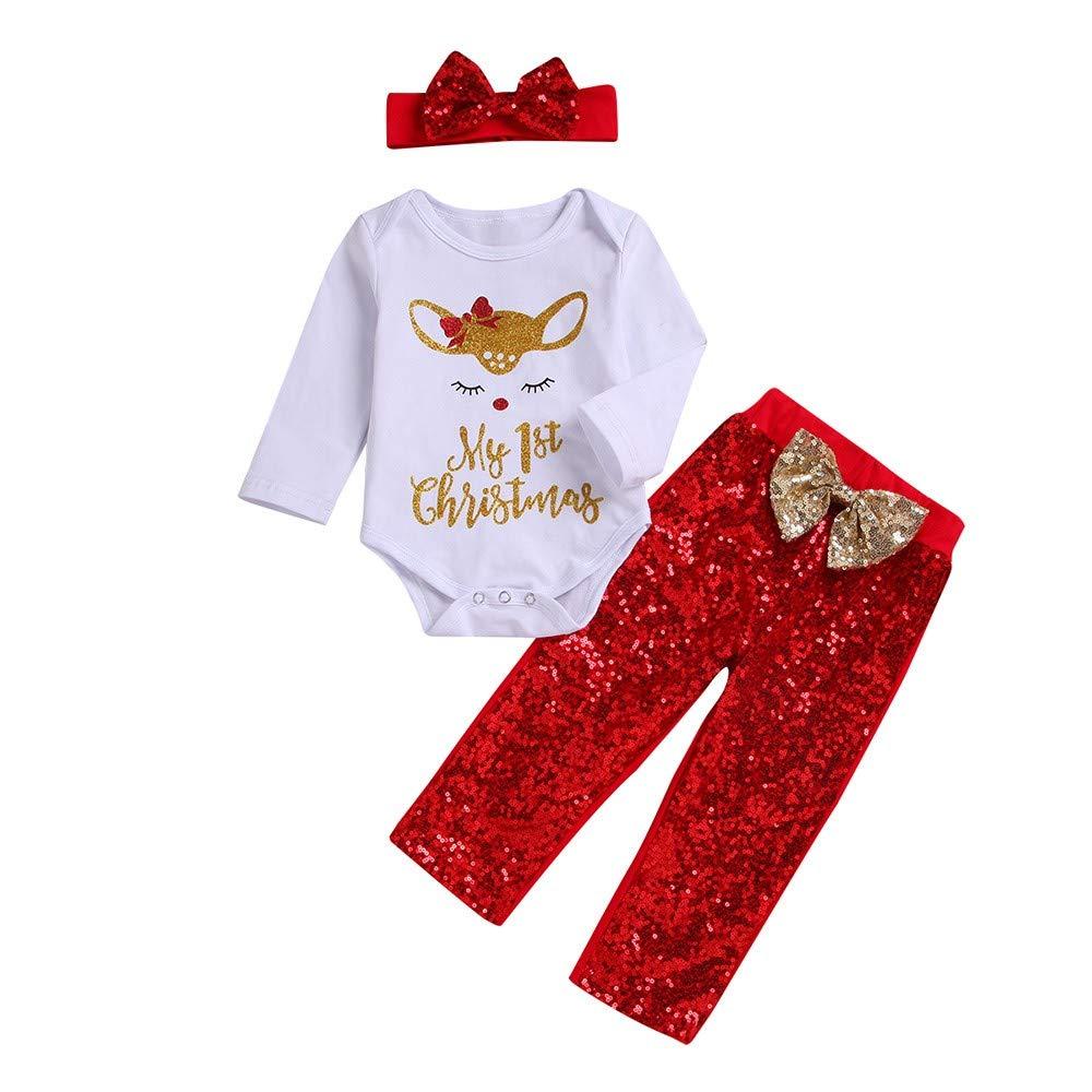Jimmackey 3pcs Neonato Natale Pagliaccetto Lettera Fulvo Stampa Tutine Body Cime + Paillettes Pantaloni + Fascia Bambina Abiti Set