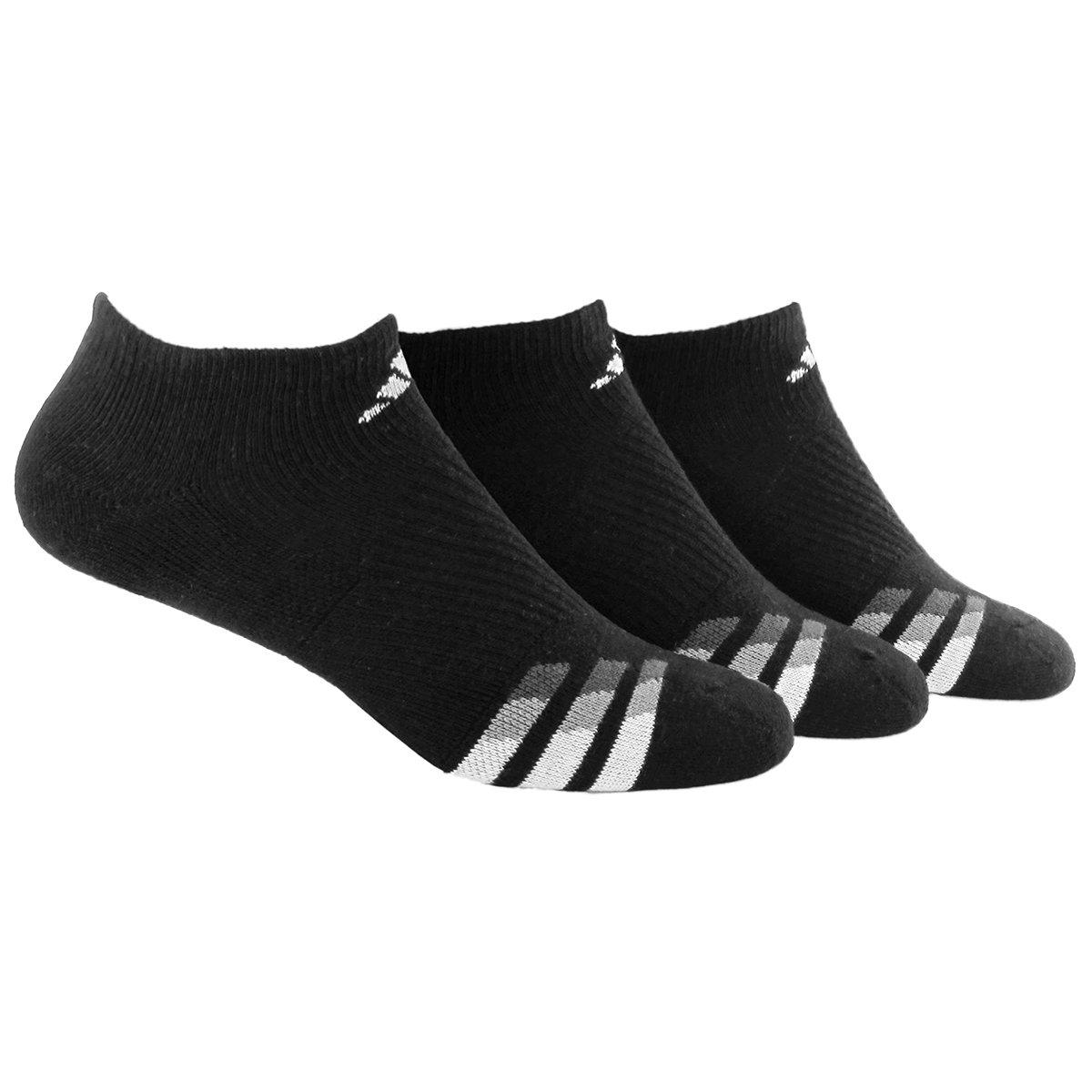 adidas Men's Cushioned 3-Pack No Show Socks, Black/White/Light Onix,X-Large