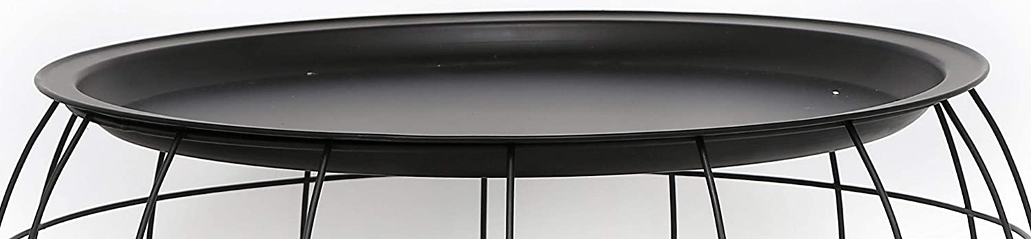 Heart of Home Black Metal Round Wire Basket Storage Table with Metal Tray Top Small