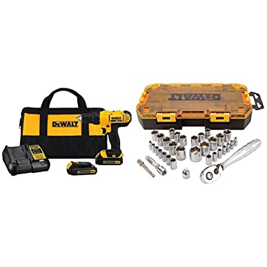 Dewalt DCD771C2 20V MAX Cordless Lithium-Ion 1/2 inch Compact Drill Driver Kit and Drive Socket Set (34 Piece), 1/4  and 3/8