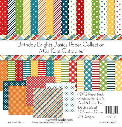 Pattern Paper Pack - Birthday Brights Basics - for Party - 17 Double-Sided 12