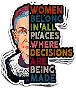 3 PCs Stickers Women Belong in All Places Ruth Bader Ginsburg 4 × 3 Inch Die-Cut Decals for Laptop Window