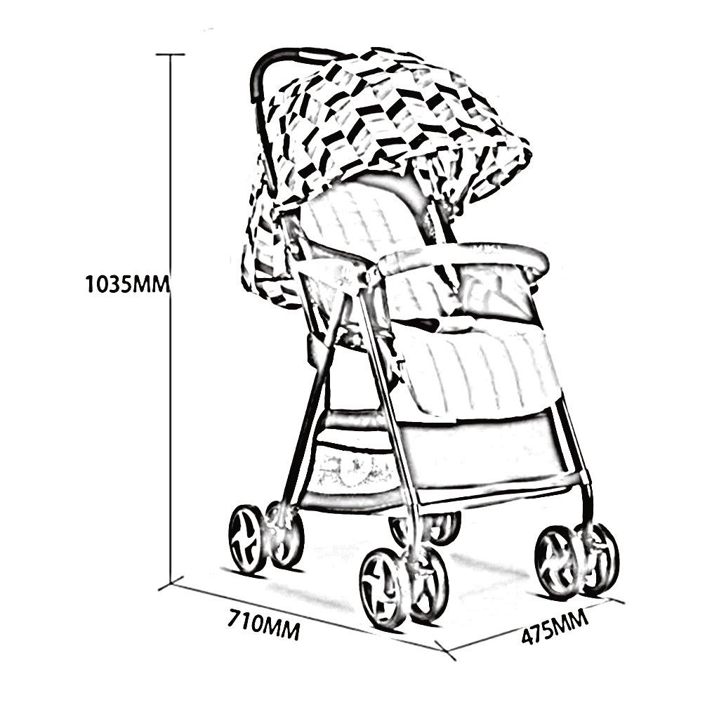 HAIZHEN マウンテンバイク ベビーカートは座ることができます/四輪ショックアブソーバを折りたたむ折りたたみ可能な軽量トロリー調整サンシェインキャビンベビーキャリッジ47.5 * 71 * 103.5cm 新生児 B07DL7VXWB ピンク ぴんく ピンク ぴんく