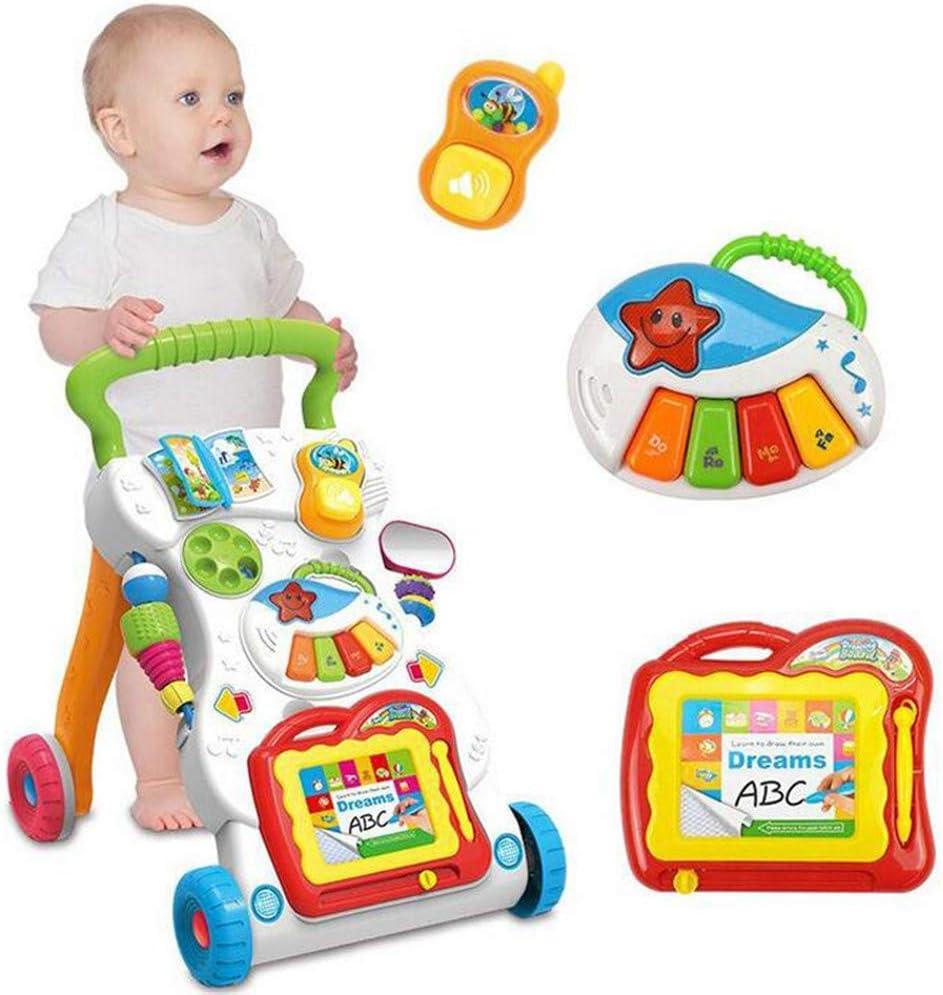 toy Niño, niña, niño, juguetes educativos para el automóvil, 1 pieza de juguete para andador, 42X34X45 cm Cochecito para niños de dibujos animados para niños Juguete musical multifuncional para bebés