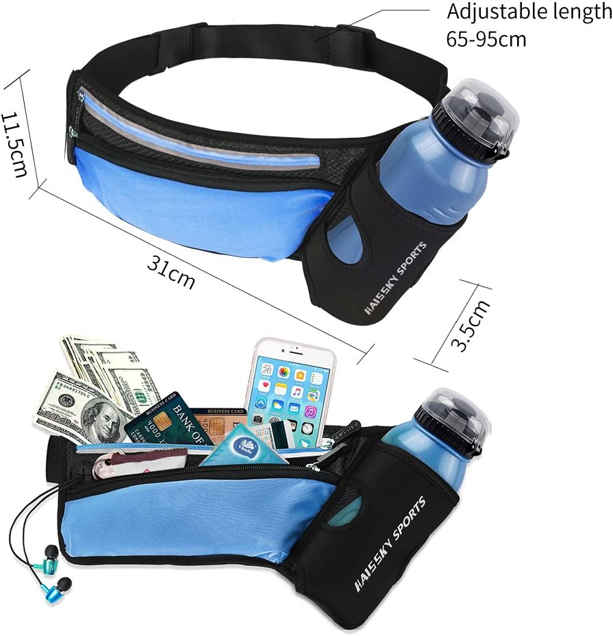 Running Belt Waistpack with Water Bottle Holder Fitness Waterproof Bum Bag Cycling Waist Bag Workout Pouch Dog Walking Bag For Travelling Running Cycling Camping Hiking with Headphone Hole