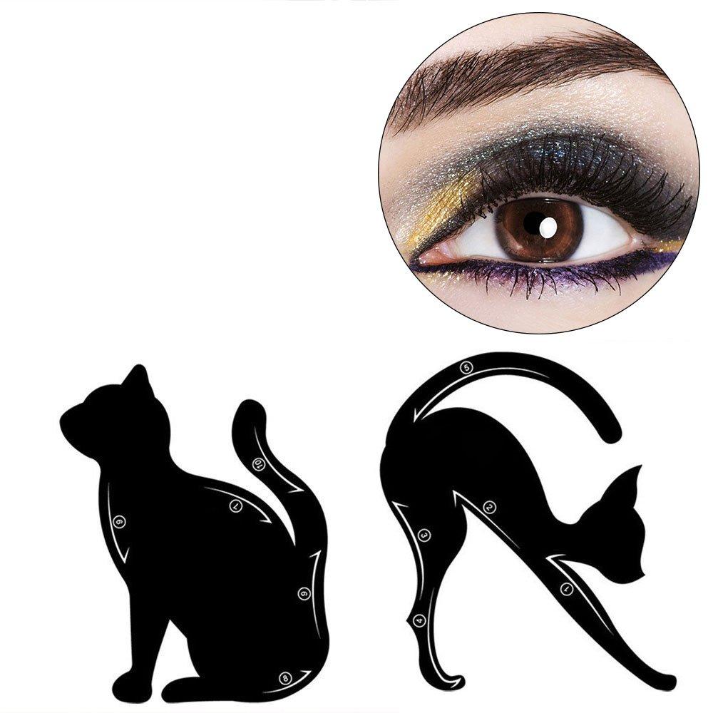 Travelmall Professional Multifunción Black Cat Shape Eye liner, material de PVC esmerilado se puede reutilizar, desde principiante hasta profesional, puede usarlo FÁCILMENTE. shenzhen