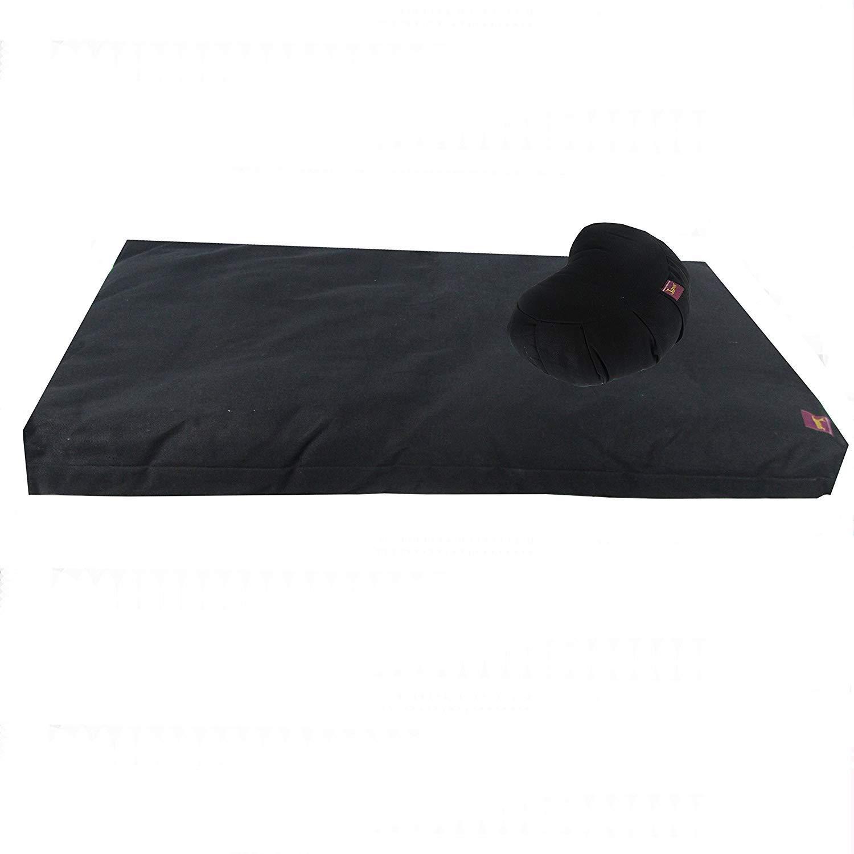 Deluxe Studio Style Yoga and Meditation Kit - Black Zabuton & Black Crescent Zafu by Yogavni(TM) by YogavniTM (Image #1)