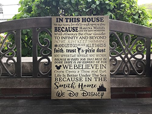 A Disney Themed Canvas, Disney Inspired House Rules for Disney Family, In This House, Custom CANVAS Decor, PERSONALIZE Family NAME, We Do Disney, Distressed Gold or Whitewash Background