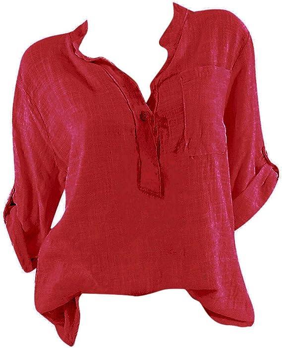 Camiseta de Manga Corta para Mujer con Cuello en V, Color Rosa - Rojo - Large: Amazon.es: Ropa y accesorios