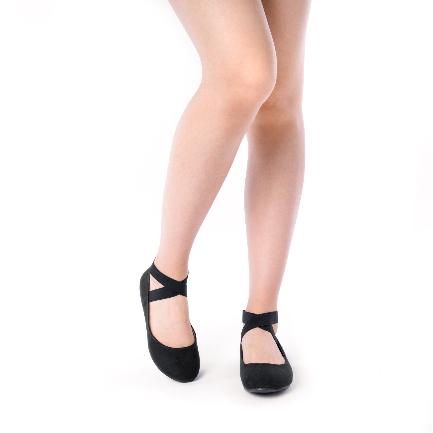 DREAM PAIRS Women's Sole_Stretchy Black Fashion Elastic Ankle Straps Flats Shoes Size 9 M US by DREAM PAIRS (Image #5)