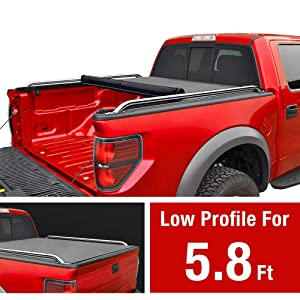 MaxMate Low Profile Soft Roll Up Truck Bed Tonneau Cover for 2009-2019 Dodge Ram 1500 (2019 Classic ONLY) Without Ram Box   Fleetside 5.7' Bed