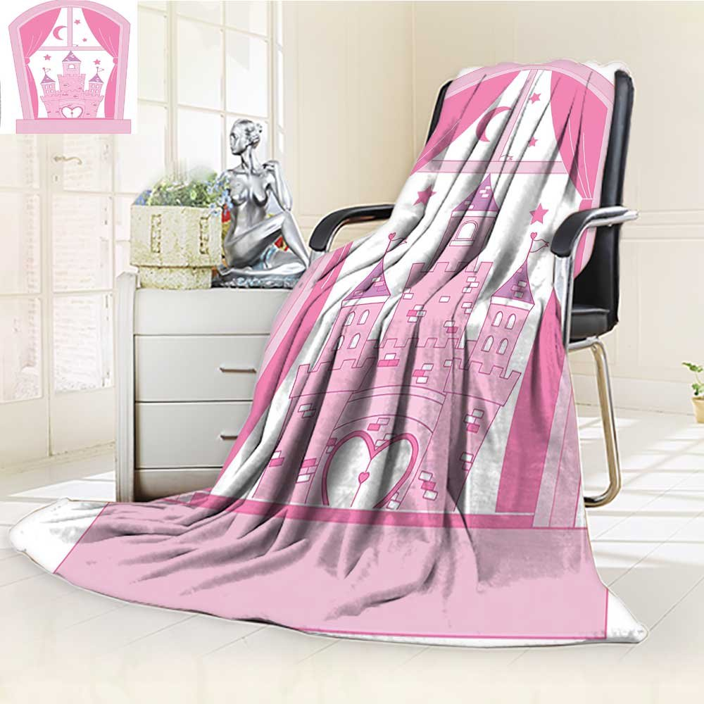 Decorative Throw Duplex Printed Blanket Castle Night Sky Stars Moon Palace Royalty Love Window Design Pink and White |Home, Couch, Outdoor, Travel Use/W86.5'' x H59