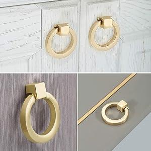 Myxekllo 4 Pcs Brushed Gold Cabinet Ring Pulls, Brass Furniture Drawer Pulls Hardware Cabinet Ring Kitchen Drawer Handles Rings
