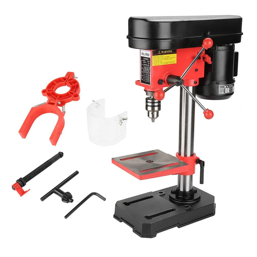 Electric Bench Clamp Drill Press Stand, 5 Speed Mini Drill Stand Drilling Machine Workbench Repair Tool for Hand Drill 50mm US Plug 350W 110V