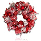 "Custom & Unique (26"" Inches) 1 Single Large Size Decorative Holiday Wreath for Door w/ Ribbons Bows Ornament Balls Plaid Christmas Winter Candy Cane Bright Holiday Festive Style (Red, White & Silver)"