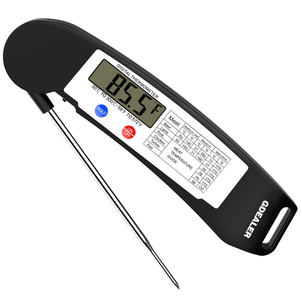 GDEALER Instant Read Thermometer Super Fast Digital Electronic Food Thermometer Cooking Thermometer Barbecue Meat Thermometer with Collapsible Internal Probe for Grill Cooking Meat Kitchen Candy by GDEALER (Image #1)