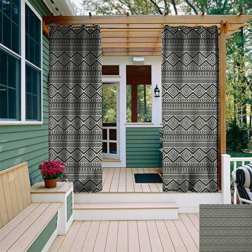 leinuoyi Southwestern, Porch Curtains Outdoor Waterproof, Native American Ethnic Pattern Antique Tribal Culture Geometric Motifs, for Privacy W72 x L96 Inch Black and Eggshell