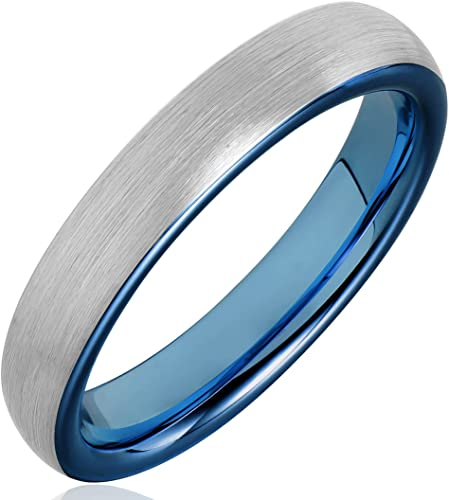 Tungsten Carbide Mens Brushed Dome Band 4mm