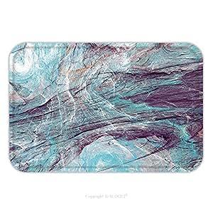 Franela de microfibra antideslizante suela de goma suave absorbente Felpudo alfombra alfombra alfombra abstracta pintura azul color textura brillante artística fondo frío dinámico patrón Fractal 627833225para interior/OUTDO, multicolor, 17.7x29.5 Inch