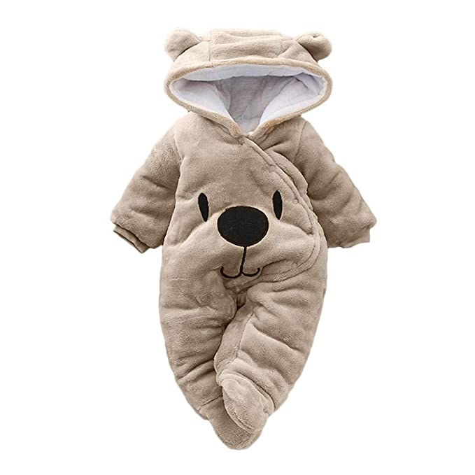 31a6fe2d3 Hauzet Baby Girl Boy Solid Cartoon Bear Velvet Hooded Jumpsuit Newborn  Romper Clothes(Khaki,