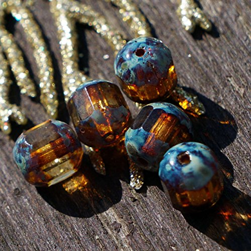 16pcs Picasso Blue Yellow Crystal Central Thru Cut Cut Czech Glass Faceted Cathedral Fire Polished Beads 8mm