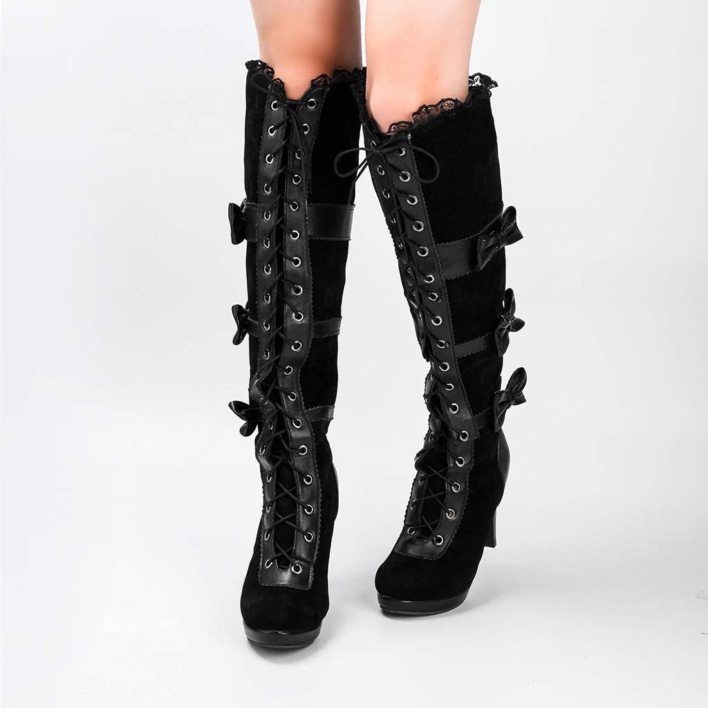 Womens Knee High Boots,Dainzuy Fashion Cosplay Black Vegan Over Knee Boots Gothic Lolita Bows High Heel Boots
