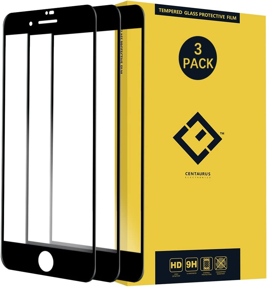 Compatible with iPhone 6 Plus / 6S Plus / 7 Plus / 8 Plus Glass Screen Protector-(3 Pack) Clear Anti-Scratch Ultra-Thin 9H Shatter Proof Full Coverage Silk Print Tempered Protective Film Black