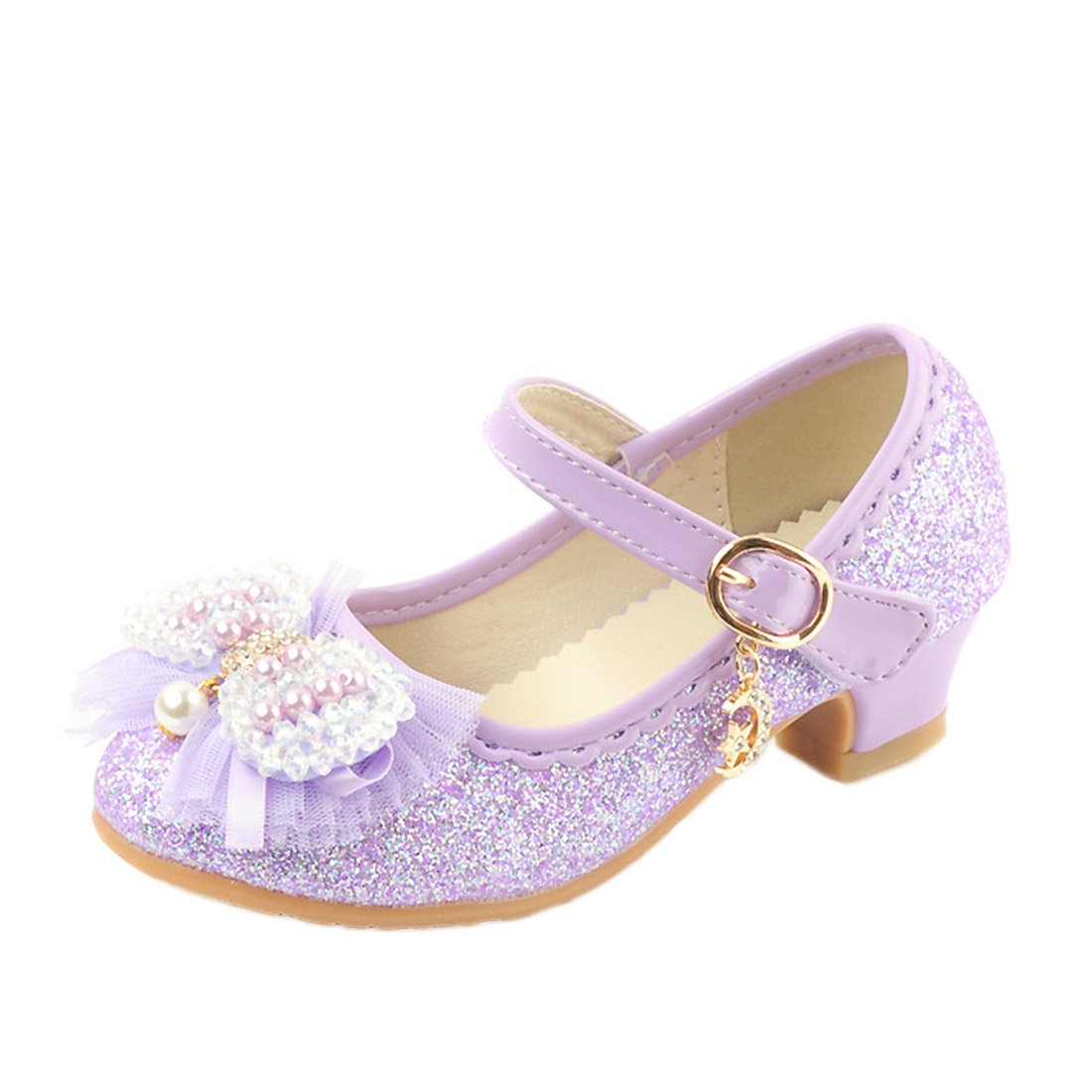 O&N Girls Kids Children Glitter Party Wedding Mary Jane Low Heels School Dress Shoes