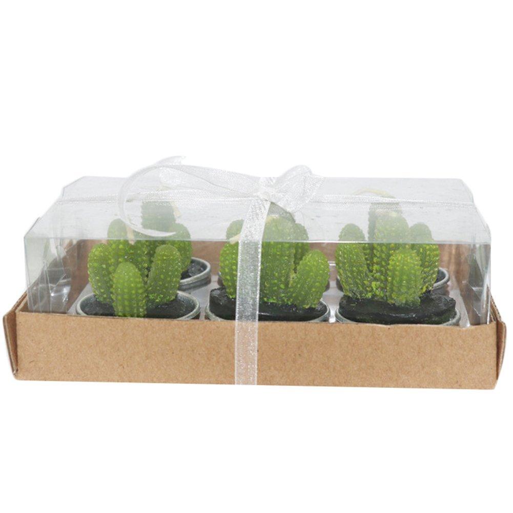 Leisial - Set 6 candele a forma di cactus, senza fumo, per compleanno / festa / matrimonio / decorazione, 4,2 x 4 cm 4.2*4CM Stile A