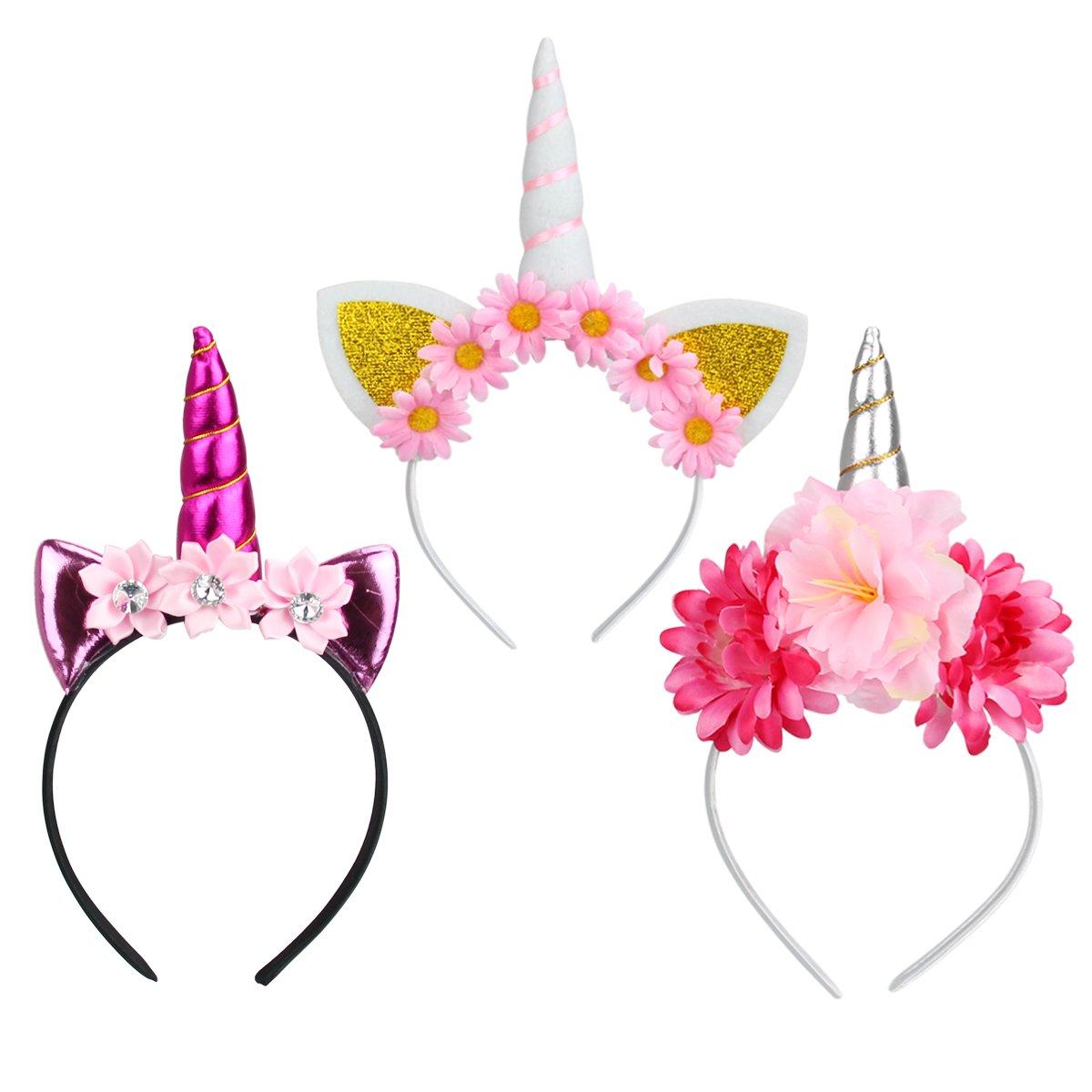 Runfon 3pcs Serre-tête Licorne avec Fleurs Chapeau Déguisement Bandeau Feutre Corne Oreilles Mignon Licorne Unicorn pour Cosplay Costume