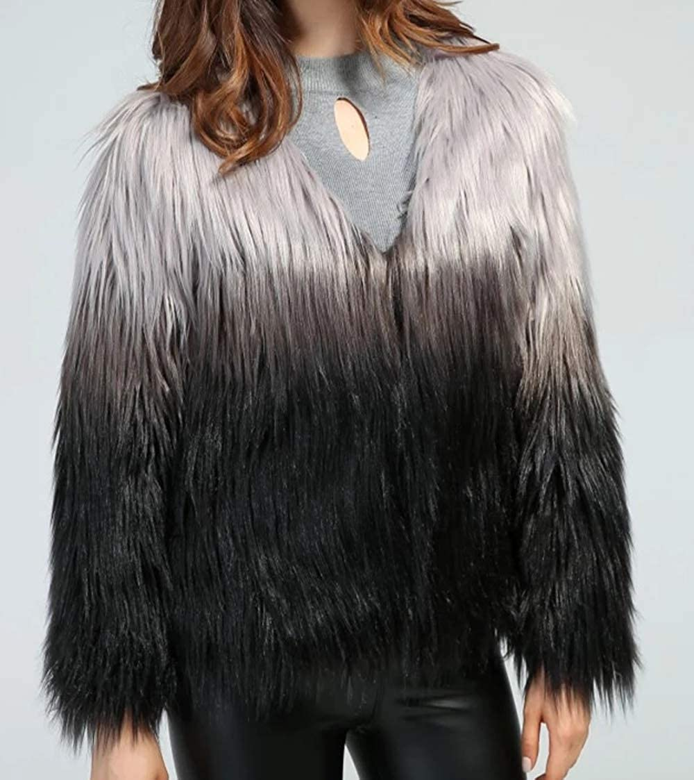 Aishang Womens Collarless Ombre Shaggy Faux Fur Coat Jacket Outwear Tops