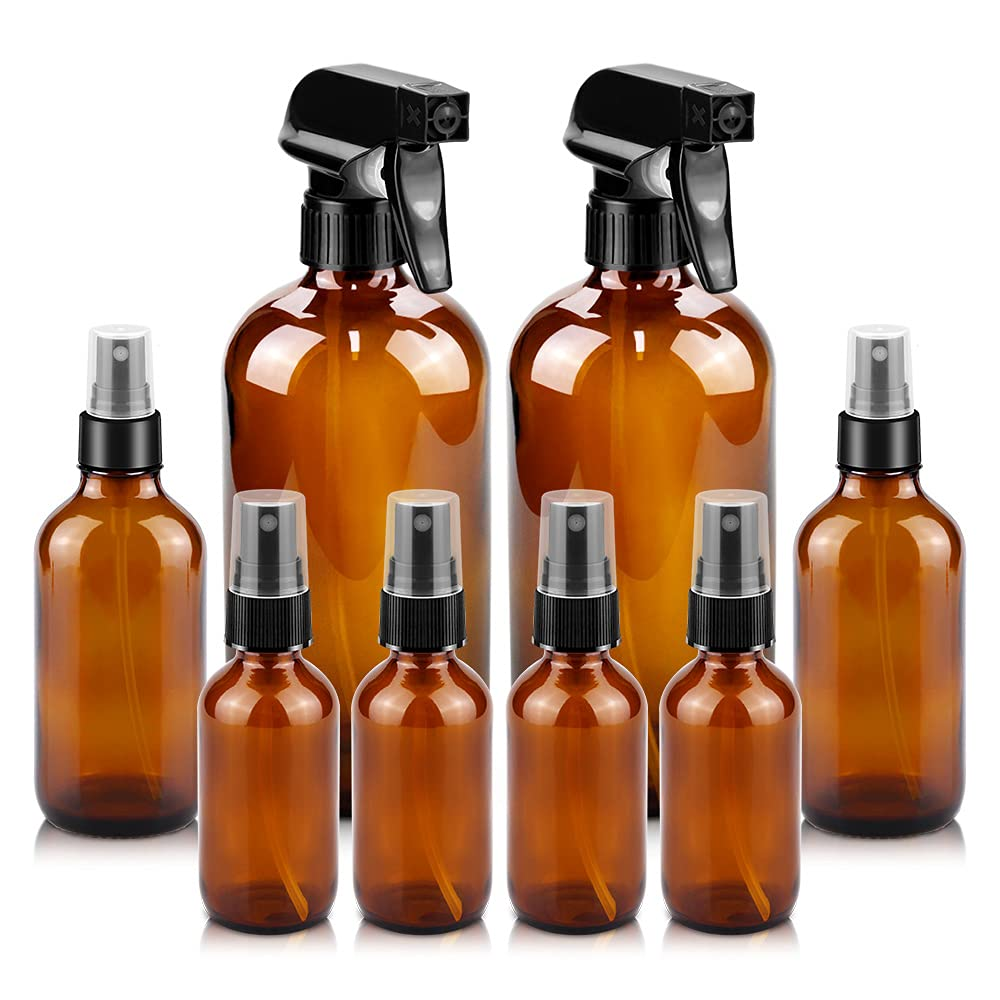 Glass Spray Bottles, 16oz2+4oz2+2oz4 Refillable Containers, Empty Boston Round Bottles with Adjustable Nozzle for Cleaning, Gardening, Aromatherapy, Pets, Plant, Hair -Amber