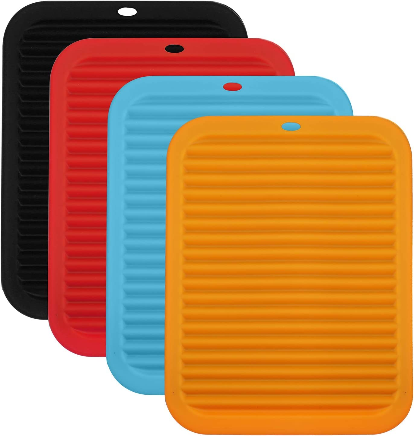 Hedume 4 Pack Silicone Pot Mat, Heat Resistant Food Grade Silicone Trivet Mats, Rectangular Drying Mat for Countertop Trivet Pads Hot Dishes, Pots and Pans (4 Colors)