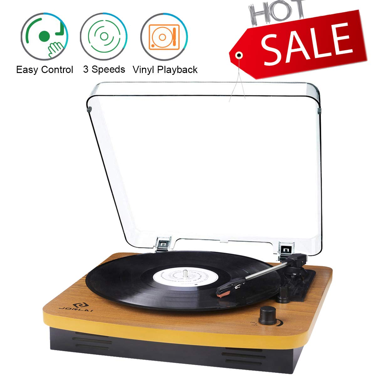 JORLAI Record Player, Turntables for Vinyl Records, 33 45 78 RPM Record  Player with Speakers, Vinyl to MP3 Recording Capable, RCA Output, 3 5mm Aux