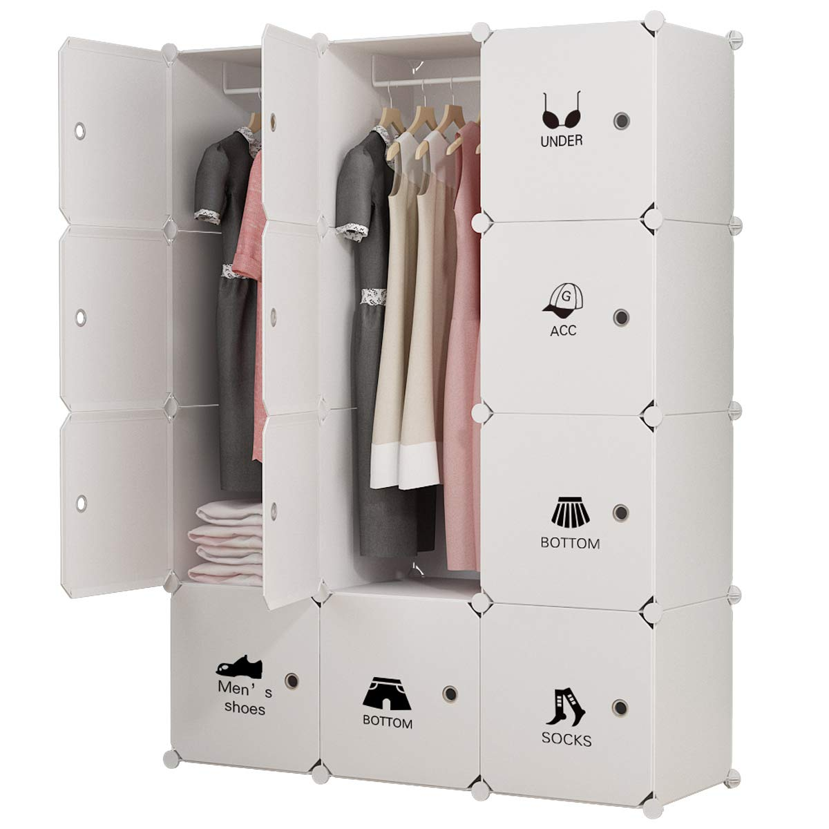 KOUSI Portable Clothes Closet Wardrobe Bedroom Armoire Dresser Cube Storage Organizer, Capacious & Customizable, White, 6 Cubes&2 Hanging Sections