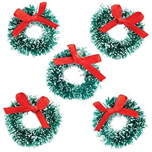 Mini Christmas Wreaths Creative Xmas Art Supplies for Christmas Crafts and Decorations (Pack of 6)