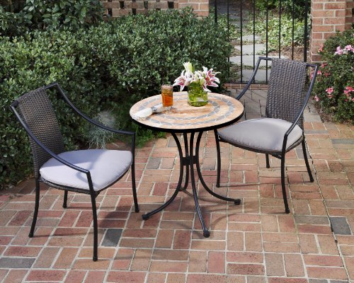 (Home Style 5603-340 3-Piece Outdoor Bistro Set, Terra Cotta Finish)